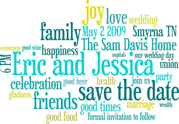 A Cheap and Easy Save-The-Date idea wordle