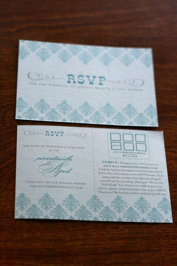 diy wedding invitation RSVP