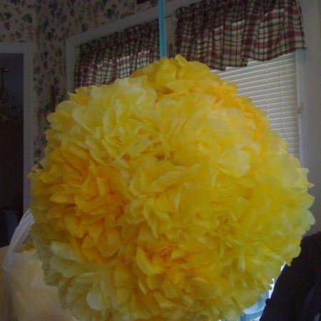 yellow paper flower ball
