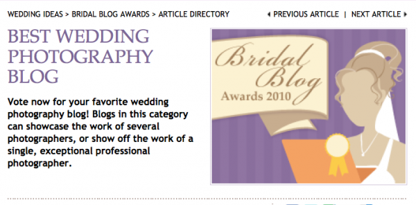 WeddingChannel.com's Bridal Blog Awards Finalist