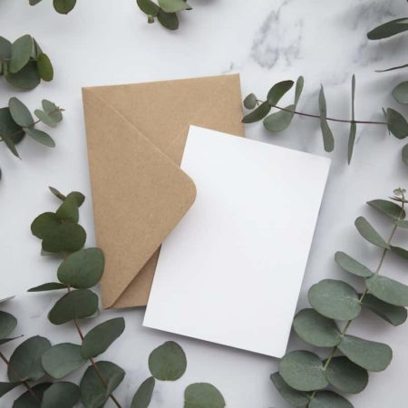 Blank white card and envelope with eucalyptus leaves. Blank invitation.