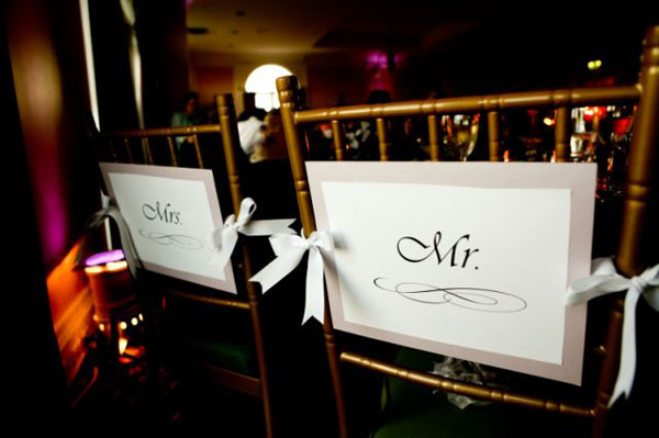 16 mr. and mrs. signs in Rachel + Matt and budget savvy wedding of the week