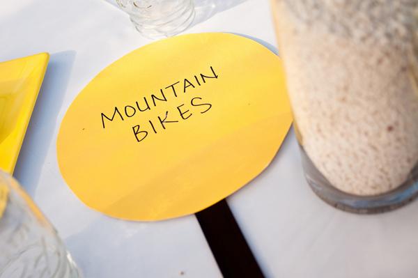 backyard wedding wedding table names bicycle