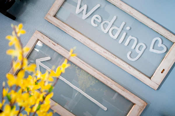 backyard wedding painted wedding sign