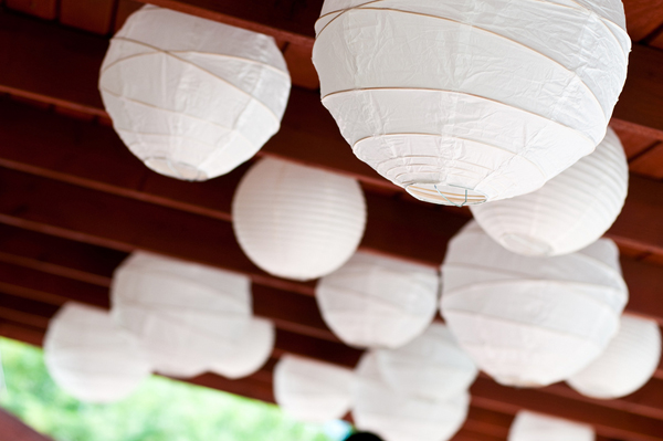 white lanterns wedding reception decor