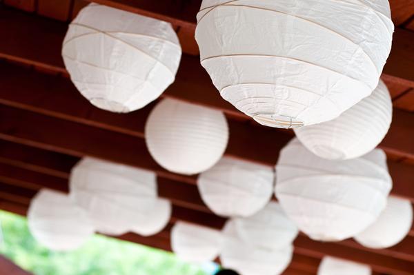 backyard wedding white lanterns wedding reception decor