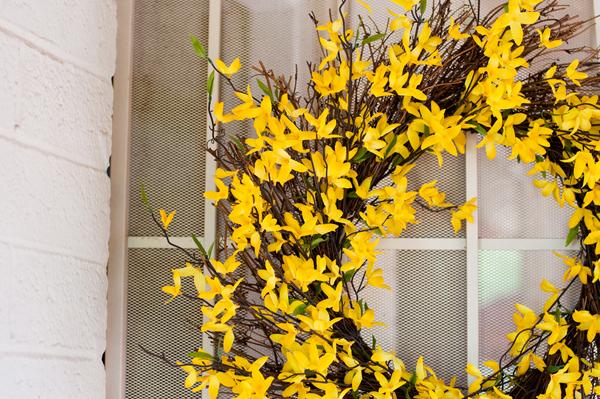 backyard wedding yellow wedding wreath