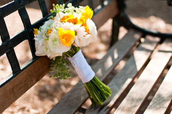 backyard wedding yellow wedding bouquet