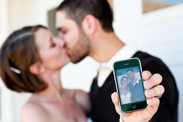 backyard wedding wedding iphone kiss