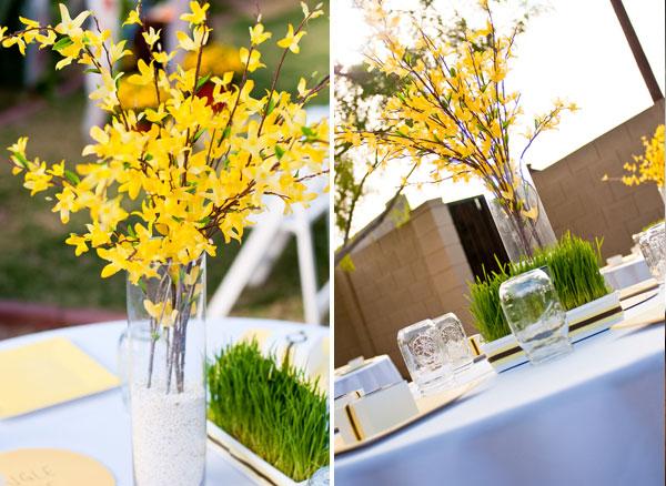 backyard wedding yellow wedding centerpieces