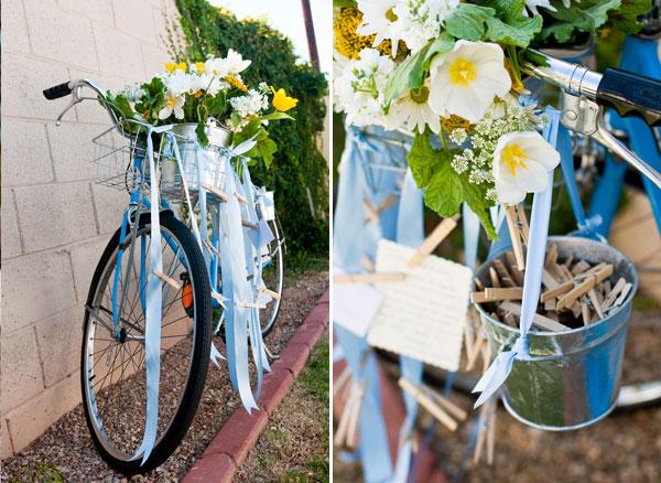 backyard wedding bicycle themed wedding
