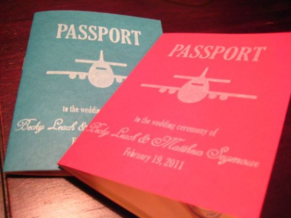 vintage travel wedding programs
