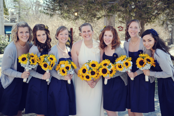 navy, sunflowers, cowboy boots