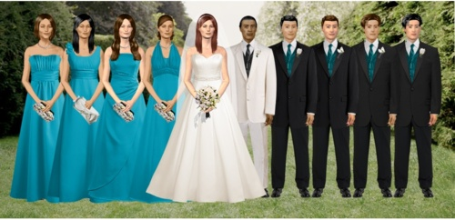 The semi-creepy, yet useful Dress Your Wedding feature on the DB website allows you to visualize the entire party.