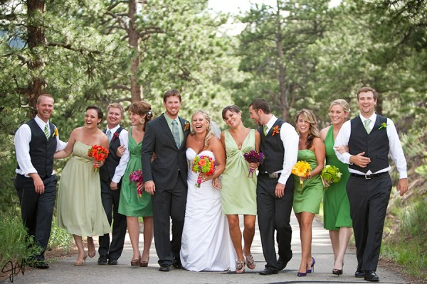 green chiffon bridesmaid dress