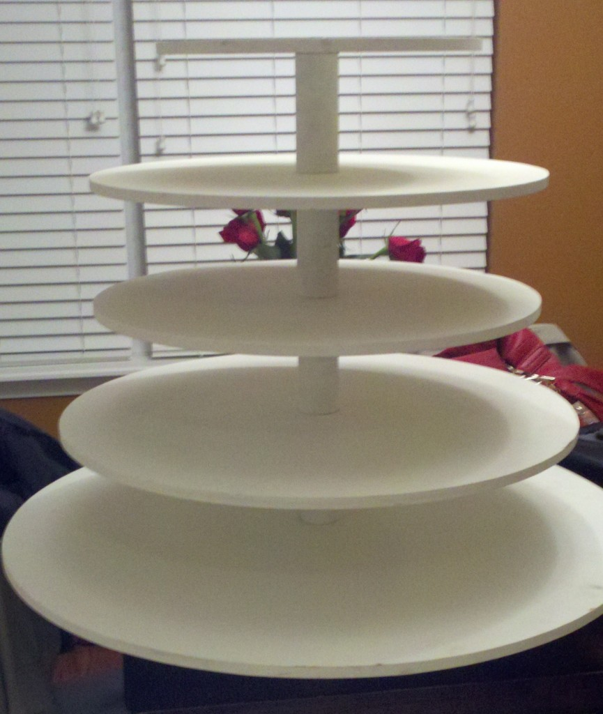 how to make a wedding cake stand out of styrofoam distressing our cupcake stand the budget savvy 15898