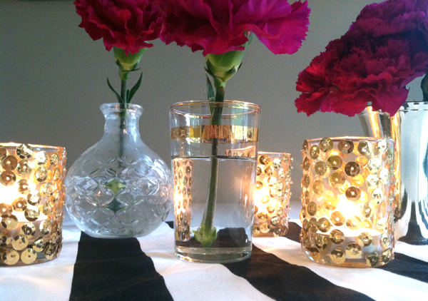 Sequin Glass Votive Holders by Stockroom Vintage