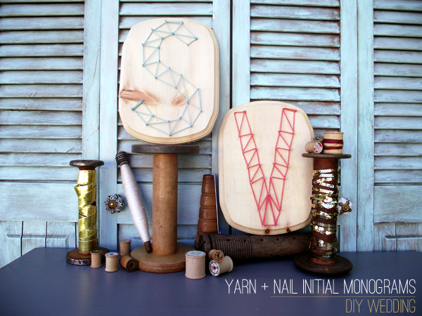 SV yarn letter DIY 1 in DIY Project: Yarn + Nail Initial Monogrammed Plaques by Stockroom Vintage and diy projects