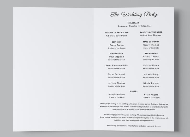 Free Catholic Wedding Program Template Edit For Free With Canva