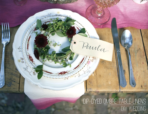 DIY Dip-Dyed Ombré Table Linens by Stockroom Vintage Event Rentals, Nashville, TN