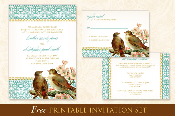 Free printable wedding invitation template set.