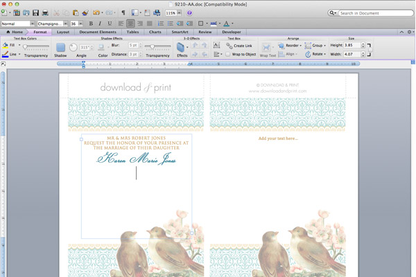 step 1 type in your event details with microsoft word open the template