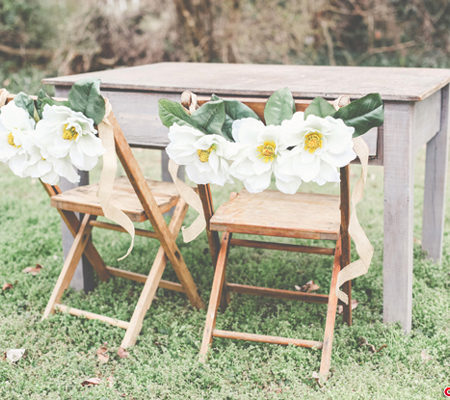DIY Magnolia Floral Chair Garland by Stockroom Vintage event rentals, Nashville, TN | Photos by Alissa Saylor Photography