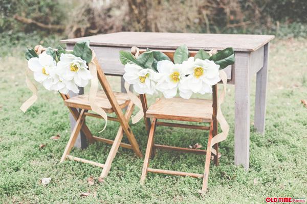 DIY Magnolia Floral Chair Garland by Stockroom Vintage event rentals, Nashville, TN   Photos by Alissa Saylor Photography