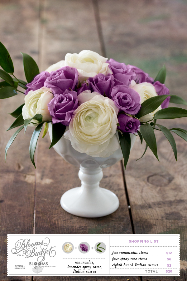 Blooms on a Budget #08: Purple and White Flower Centerpiece   The ...