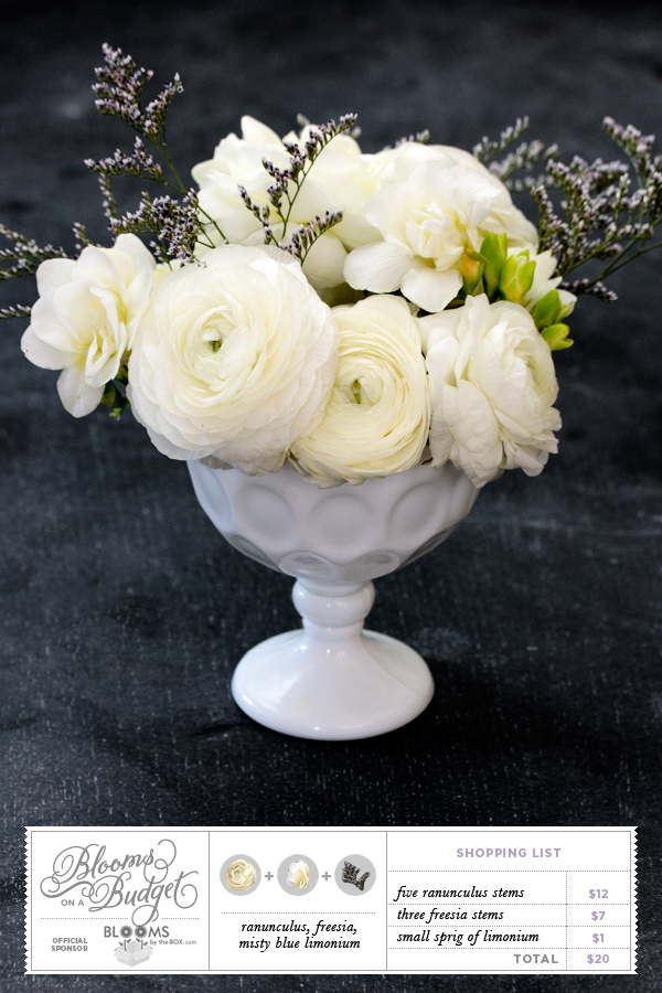 Blooms on a Budget by Somewhere Splendid via the Budget Savvy Bride. Ranunculus, Freesia and Limonium Arrangement Sponsored by Blooms by the Box.