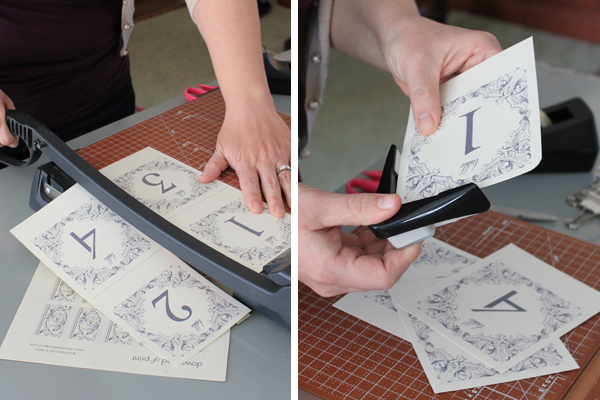 step 1 trim and round corners in DIY Table Numbers + Holders and printable diy projects blog
