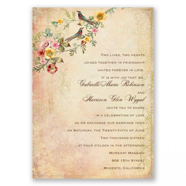 rustic vintage theme wedding invitations