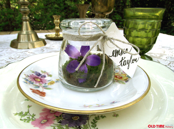DIY Terrarium Place Cards by Stockroom Vintage for Old Time Pottery