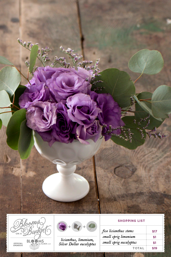 Blooms by the Box from Somewhere Splendid via Budget Savvy Bride. Lisianthus, limonium, silver dollar eucalyptus. Sponsored by Blooms by the Box.