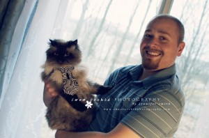 My fiance, John, and our Himalayan, Jackson Photo Credit: Me - www.sweetorchidphotography.com