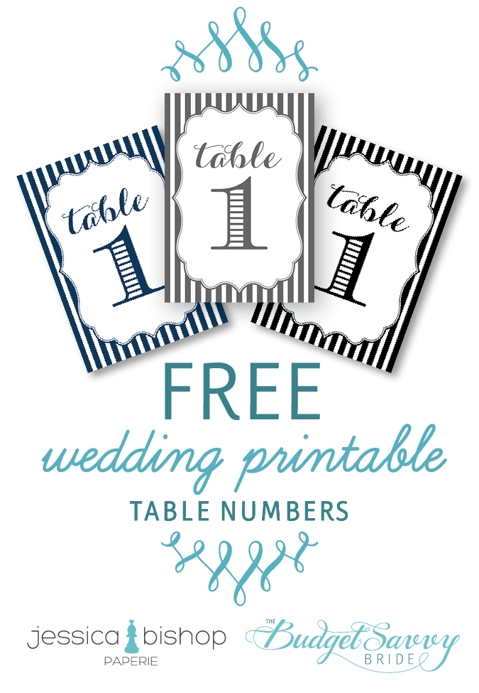 Free Wedding Table Numbers Printable from The Budget Savvy Bride