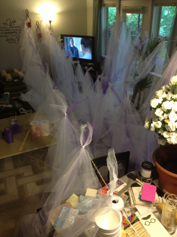 Tied Tulle to the Twine .. almost done!!  Photo Credit - my  iPhone