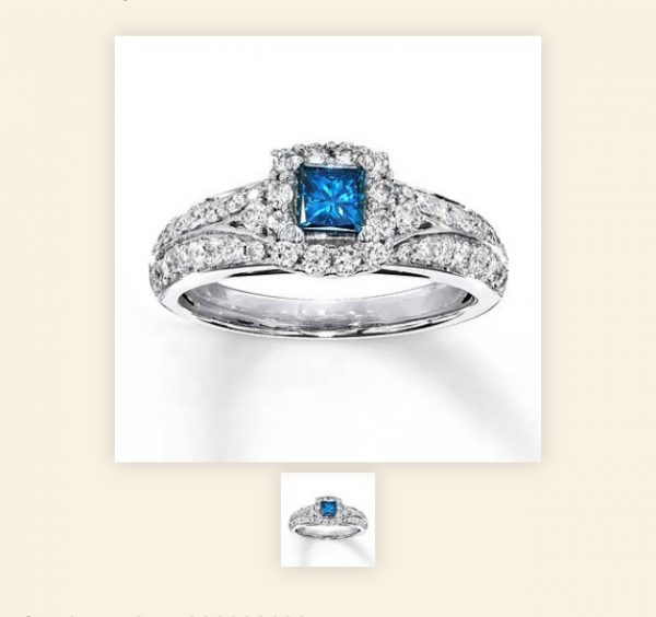 My Engagement Ring - Photo from Kay Jeweler's http://www.kay.com/en/kaystore/blue-diamond-ring-1-carat-tw-princess-cut--14k-white-gold