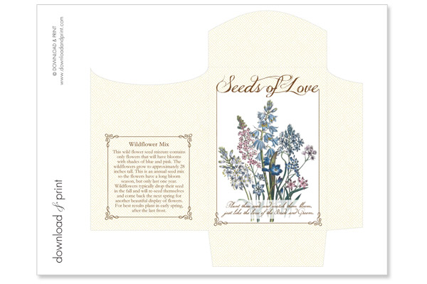 diy seed packet wedding favors the budget savvy bride. Black Bedroom Furniture Sets. Home Design Ideas