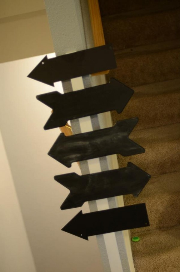 The chalkboard arrows - in progress - after being painted, ready to have the writing done