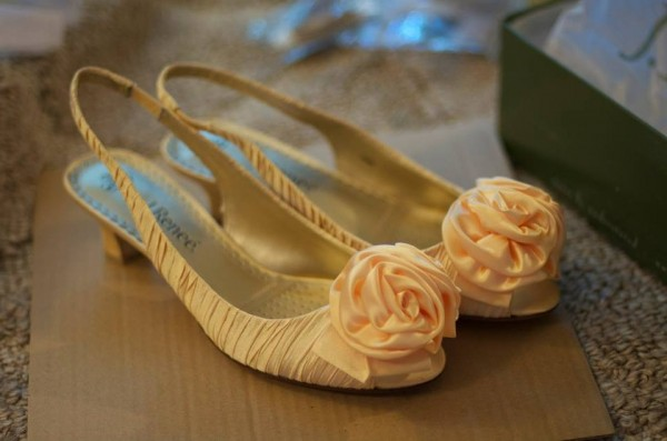 My canary yellow wedding shoes, right out of the box from DSW.com