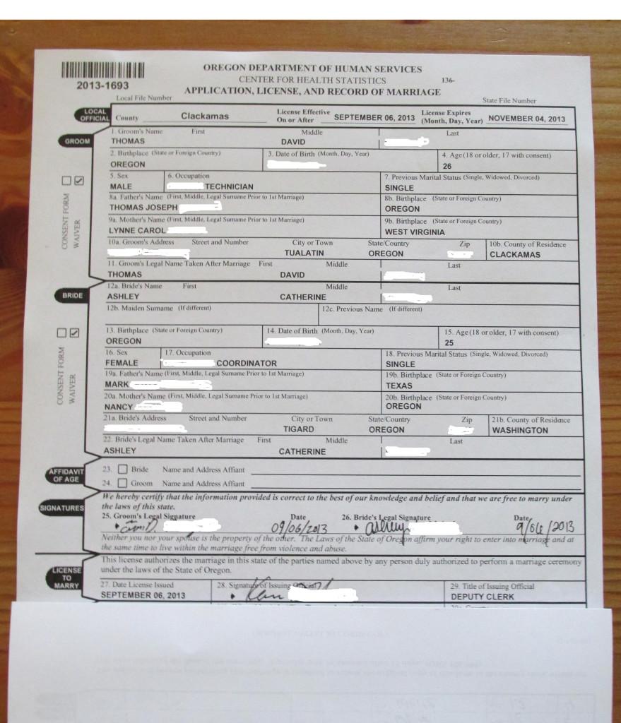 Copy Of Marriage Certificate Oregon Best Design Sertificate 2018