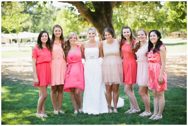 mismatched pink bridesmaids dresses