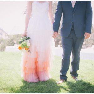 pink ombre wedding dress