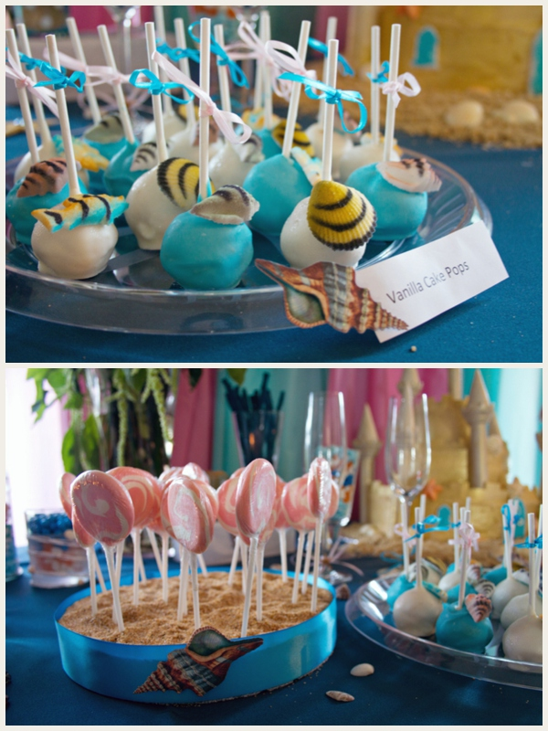 beachy cake table - cake pops