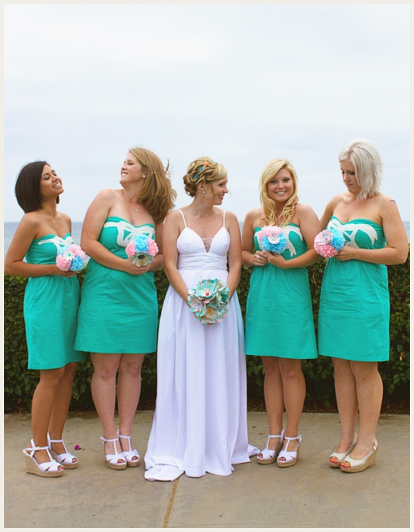 tiffany inspired wedding - bridesmaid dresses