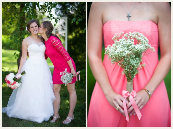 mistmatched pink bridesmaids