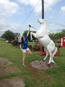 Me. Somewhere between Oklahoma & Texas. This horse was hanging out next to the Great White Buffalo statue (Pictured w/Melissa at the beginning of the story)