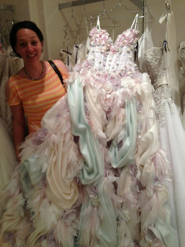 "Here's Melissa with a dressed we named, ""The Toothpaste Dress!"""