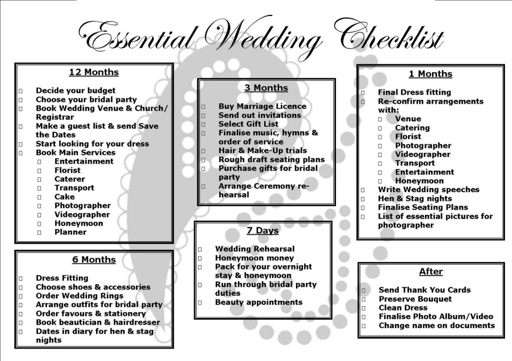 Project management for wedding planning an engineers perspective wedding checklist 1024x723 junglespirit Image collections